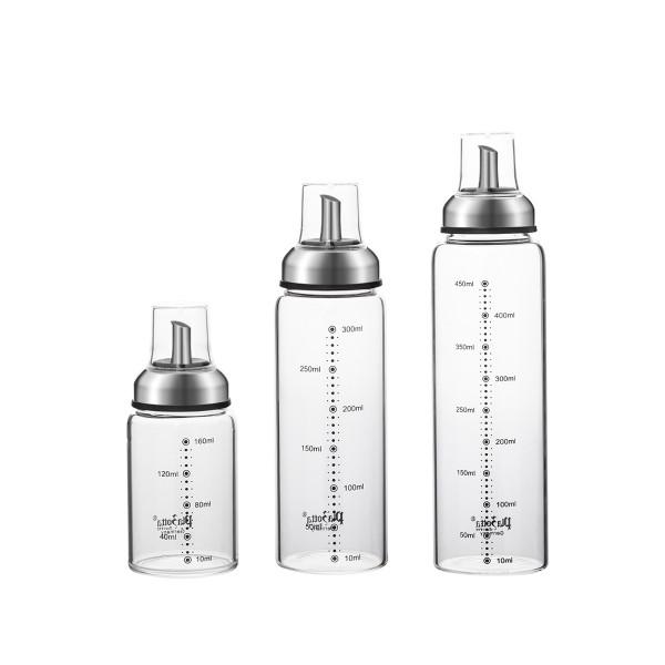 Ölspender Edelstahlausgießer aus Glas Tropffrei mit Skala und Deckel