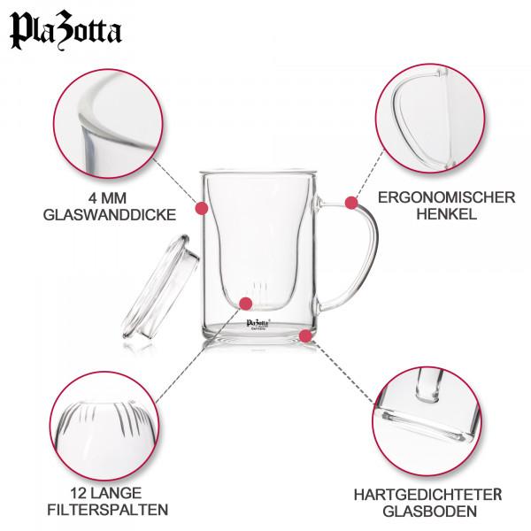 Teeglas 450ml Borosilikatglas mit Filter Deckel