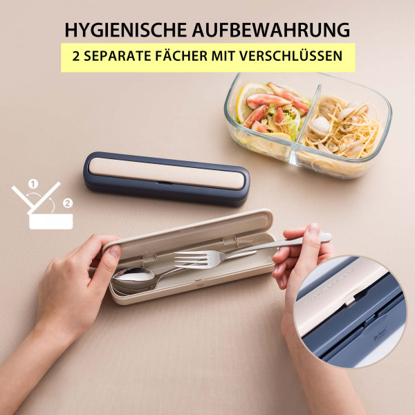 Tragbares Edelstahl Besteck Set Reisebesteck Grün