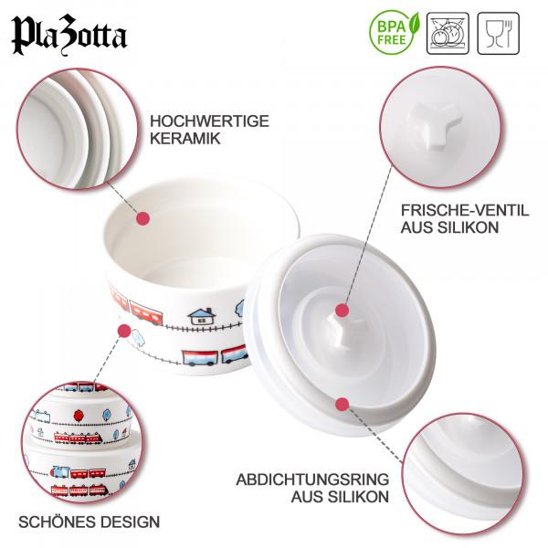 4er Schüsselset Keramik Schale mit Deckel Frischhaltedose
