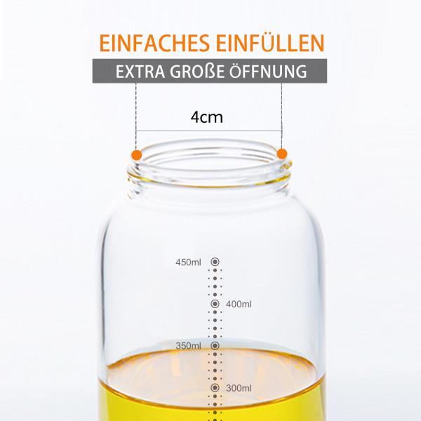 Ölspender 500ml Glas Edelstahl mit Skala Tropffrei