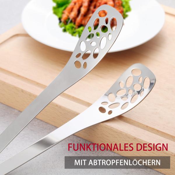 Küchenzange Grillzange Edelstahl Servierzange 25cm