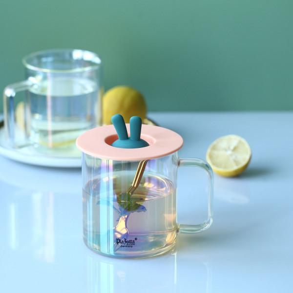 Doppelwandiges Borosilikatglas Irisierend mit Henkel 360ml