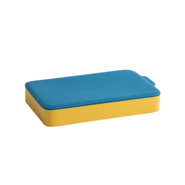 Eiswürfelform Rechteck Gelb/Blau mit Deckel aus Silikon