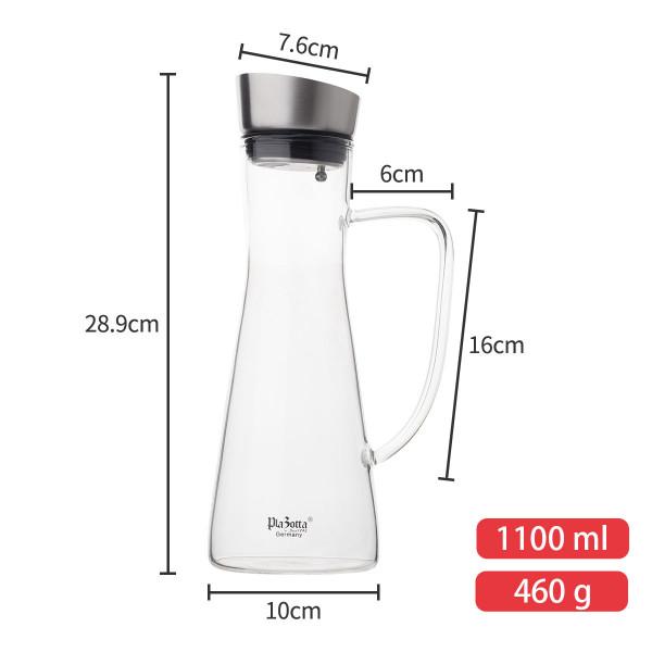 Glaskaraffe 1,1L + Gläser 350ml + Kühlsockel Set
