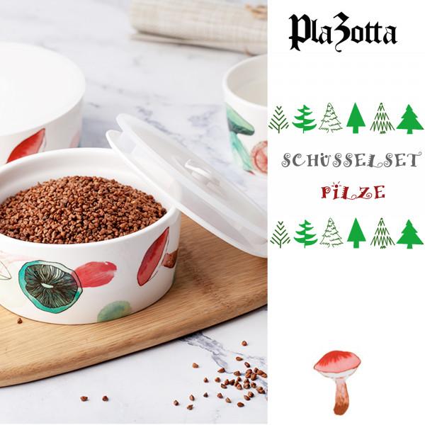 4er Schüsselset Keramik Pilzmuster Schale mit Deckel
