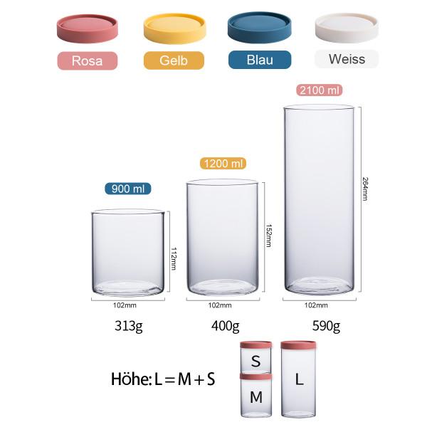 Premium Vorratsdosen Silikon Deckel Vorratsgläser
