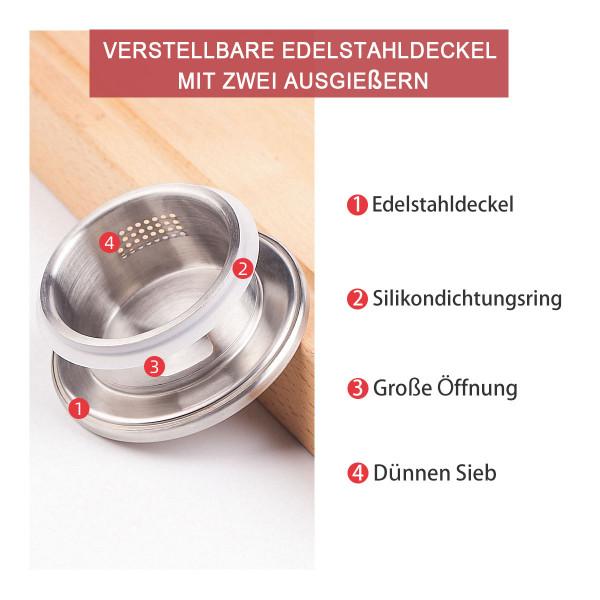 Glaskaraffe 1,7L mit Henkel und Deckel Edelstahl