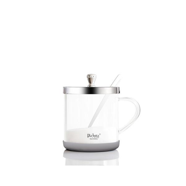 Gewürzglas 350ml aus Borosilikatglas Edelstahl mit Deckel und Henkel
