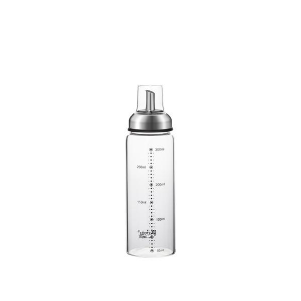 Ölspender 300ml aus Glas Edelstahl Ausgießer mit Skala Tropffrei