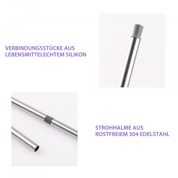 Edelstahl Strohhalm Tragbar Set Grau