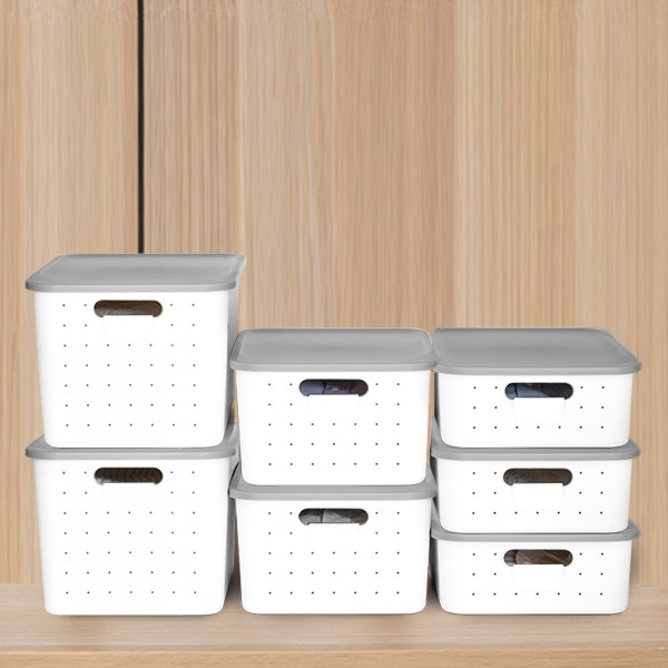 Aufbewahrungsbox S Deckel Grau