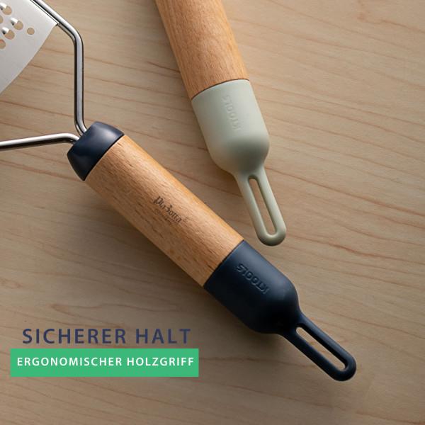 Edelstahlreibe mit Holzgriff und Schutzabdeckung