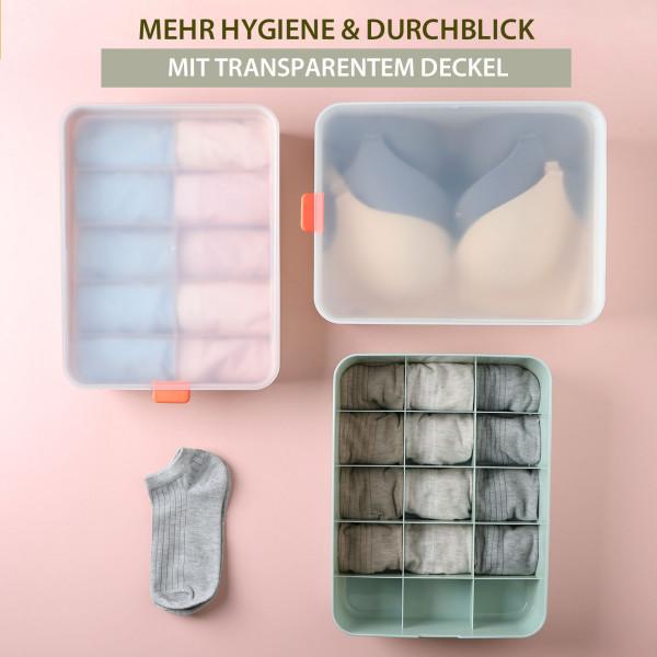 Aufbewahrungsbox für Unterwäsche mit Deckel 15 Fächer Weiß