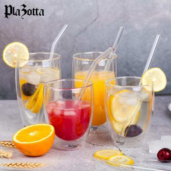 6/8/12x Premium Glas Strohhalme mit Bürste