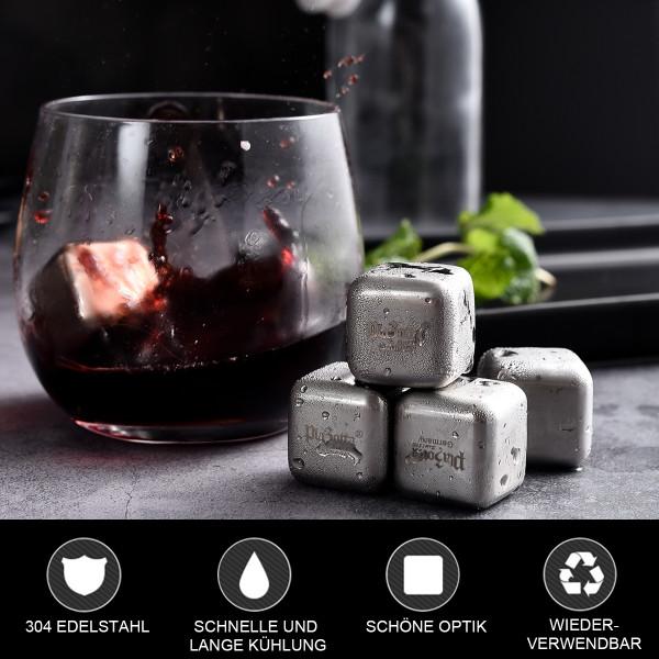 Premium Edelstahl Eiswürfel Silber 8er Set Whisky Steine Kühlsteine