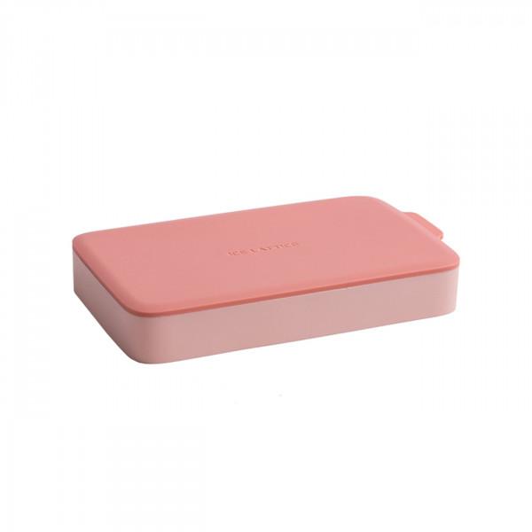 Eiswürfelform Rechteck Pink/Pink mit Deckel aus Silikon