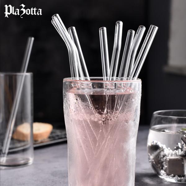 Glas Strohhalme Gebogen aus Borosilikatglas mit Bürste